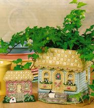 Plastic Canvas English Cottage Planter Bag Clip Centerpiece Pattern - $5.99