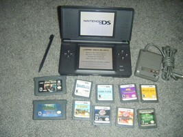 Nintendo DS Lite ONYX BLACK Handheld System Console Lot of 10 Games - $59.82