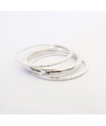 Thin Rings, Set of 3 Stackable 925 Sterling Silver Rings. - $38.90