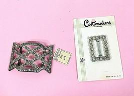 2 Vintage Ribbon Belt Buckles Metal w Rhinestones 1 MOC 1 w Tag OLD! - $32.18
