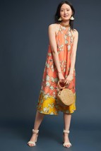 NWT ANTHROPOLOGIE BEADED BLOSSOM PRINTED HALTER NECK DRESS by VARUN BAHL XS - $151.99