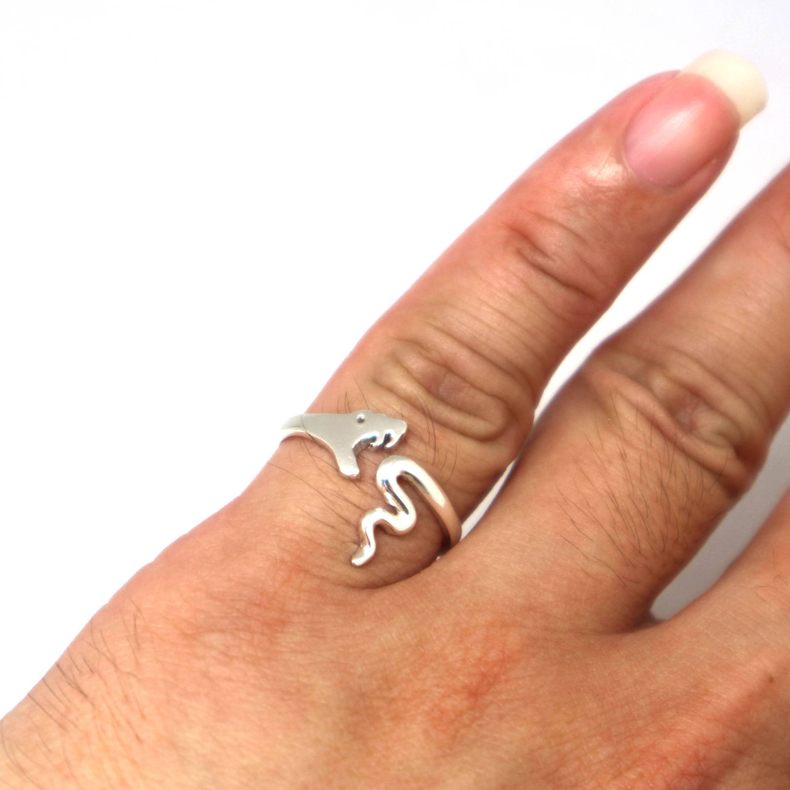 Handmade 925 Sterling Silver Snake Ring - Animal Jewelry, Size US 7 - 14