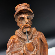 BLACK FOREST VINTAGE wood carved figurine Germany man smoking pipe bola ... - $43.56