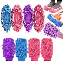 Mop Slippers Dusting Mitt, Duster Mop Slippers Shoes Cover 2 Pairs Mop Slipper S