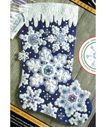 Bucilla Sparkle Snowflakes Winter Snow Christmas Frost Felt Stocking Kit... - $39.95