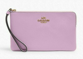 New Coach 3888 large Corner zip wristlet Crossgrain Leather Violet Orchid - $58.41