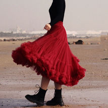 Burgundy Midi Puffy Tutu Skirt Burgundy High Waisted Layered Tulle Skirt Plus  image 11