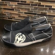 Skechers men's black cream pinstripe slip on shoes - $35.64