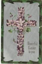 Easter Postcard 1908 Cross of Violets Embossed Silver Gilt Paul Finkenrath - $7.50