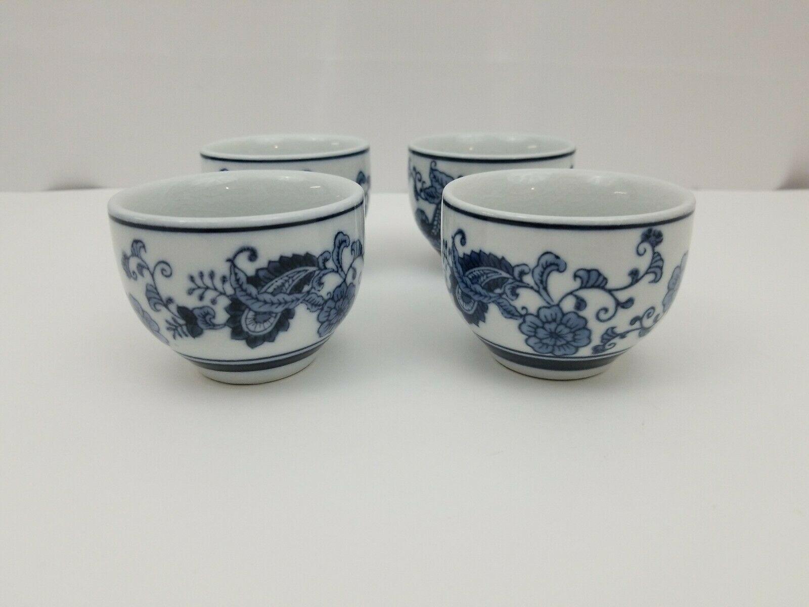 Pier 1 Imports Porcelain Tea Cups Sake Set of 4 White Blue Floral Dish Safe image 3