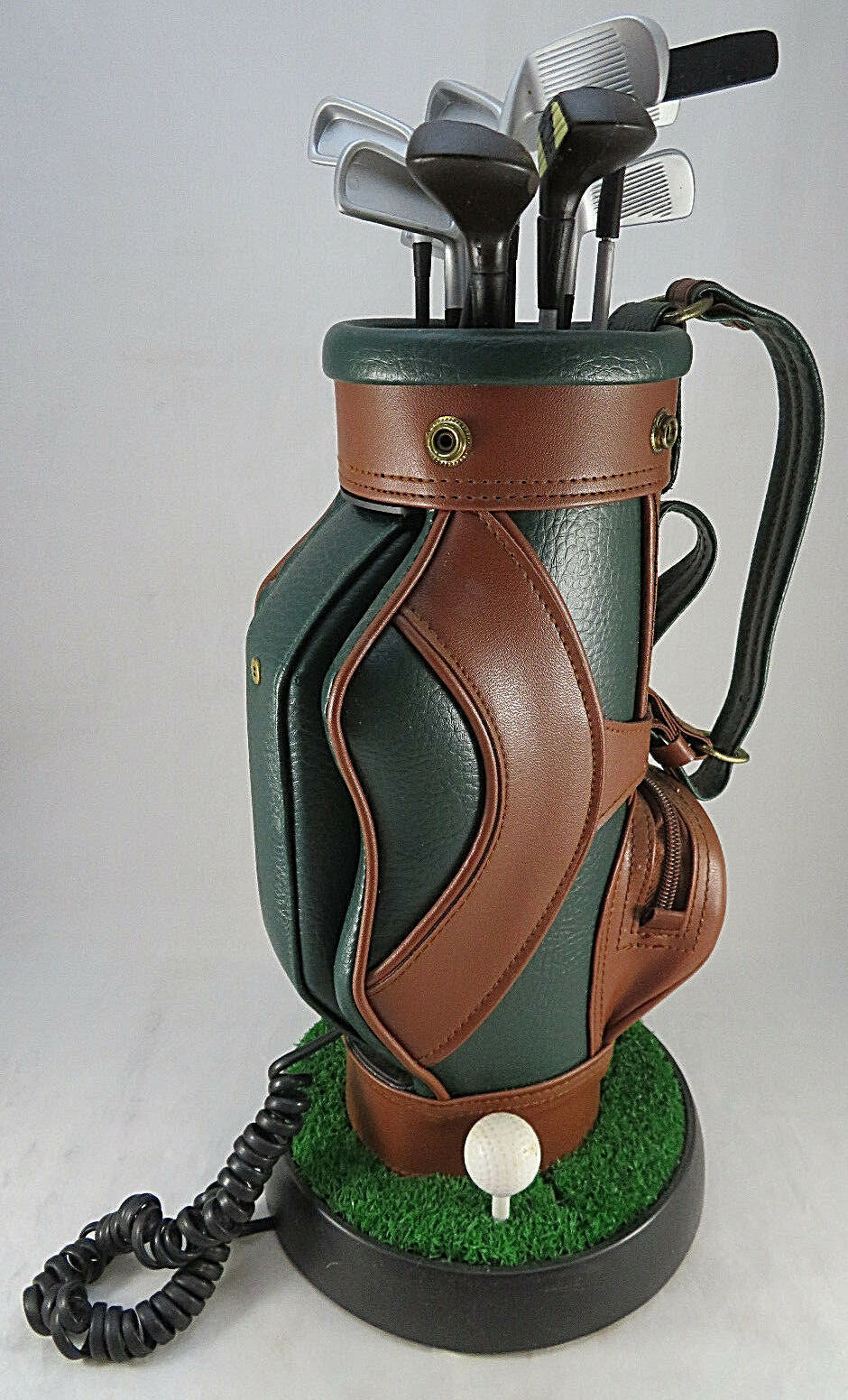 "Primary image for Vintage Golf Clubs Bag Corded Phone Telephone 17"" Golfer Push Button Green Brown"