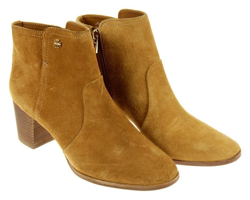 Tory Burch Sabe Suede Ankle Boots Camel Brown Bootie Size 10 Shoes New