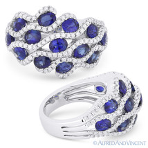 3.22 ct Oval Cut Sapphire & Diamond Pave 14k White Gold Right-Hand Fashi... - £2,329.51 GBP