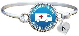 Paramedics are Super Heroes Comic Silver Cuff Bracelet Jewelry EMT Add Initial - $14.24