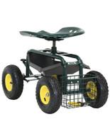Steerable Rolling Work 360 Swivel Seat Garden Stool Cart Scooter W/Tray+... - $84.14