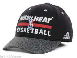 Miami Heat Adidas NBA Basketball Practice Stretch Fit Cap Hat S/M - $19.90