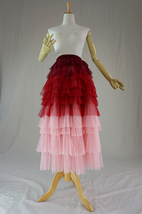 Tiered Long Tulle Skirt Red Pink High Waisted Layered Tulle Skirt Party Outfit image 4