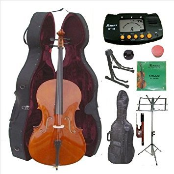 Merano 3/4 Size Cello with Hard Case with Bag and Bow+2 Stands+Tuner+Rosin+Mute