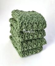 Handmade Dish Cloth Sage Green Eco Friendly Cotton Kitchen Dishcloth Cro... - $22.50