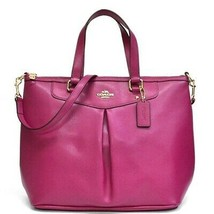 NWT Coach Crossgrain Pleat Tote in Cranberry Color Leather F34680 - $135.44