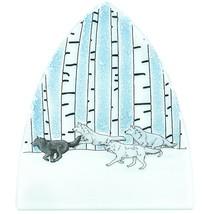 Handmade Fused Art Glass Running Wolf Pack Snowy Winter Nightlight Night Light image 2