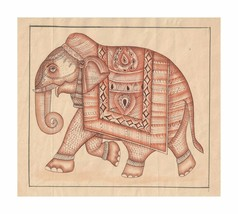 Elephant Painting Handmade Art Original Decor Traditional Animal Home Art - $50.00