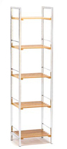 Osaka bamboo wood chrome metal 5 shelf office kitchen bed bath room stor... - $71.00