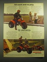 1979 Honda ATC 110 Three-Wheeler Ad - All work and no play - $14.99