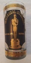 Vintage Universal Studios Oscar Glass Tumbler Black Gold Textured - $24.49