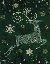 Starry Night Christmas Reindeer Wallhanging Panel Fabric Kit -Green- Sol... - $27.97