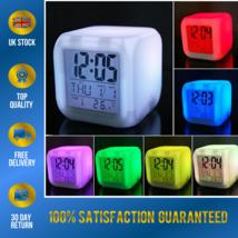 Digital Bedside LED Snooze Alarm Clock Time Temperature Night Mode Clock UK - $8.80
