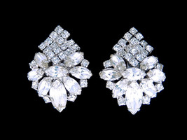 Vtg large rhinestone clip on earrings formal bridal bride wedding jewelry - $16.78