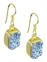 Multi Gold Plated Glass inviting Druzy suppiler Earring AU gift - $9.84