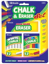 BAZIC 12 Color & 12 White Chalk w/ Eraser Set for School, Crafts, or Out... - $5.85