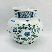 Vintage Royal Delft Holland Vase Blue Green Floral Koninklijke Porceleyne Fles  - $37.97