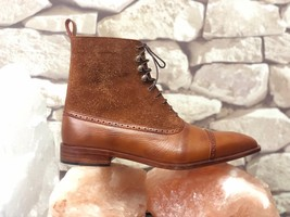 Handmade Men's Brown High Ankle Lace Up Leather & Suede Boots image 5