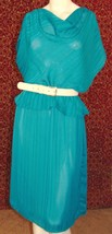 THE DRESS EXPRESS VINTAGE 80s green striped peplum dress 12 (S) w/FLAW (... - $12.85