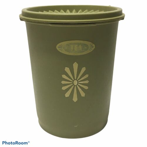 Tupperware Vintage Canister Avocado Green With Lids #811-5 Tea - $14.03