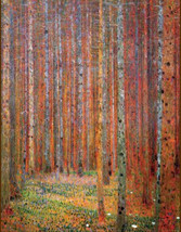 "Gustav-klimt-tannenwald, 11 x 14"" cotton canvas art print. wood. forest, art nou - $23.99"