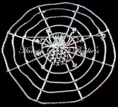 Spider Web Pin Brooch Black Clear Crystal Round Silvertone Metal Fall Ha... - $19.99