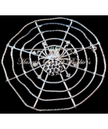 Spider Web Pin Brooch Black Clear Crystal Round Silvertone Metal Fall Halloween - $19.99