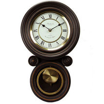 Bedford Clock Collection Contemporary Round Wall Clock with Pendulum - $84.00