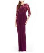 Adrianna Papell Sequin 3/4 Sleeve Illusion Top Evening Gown Dress, Mulbe... - $43.49