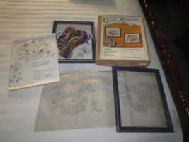 "Bucilla Floral Crewel Embroidery Kit 3246-PAIR Of Pictures With 9"" X 11"" Frames - $19.75"