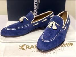 Handmade Men's Blue Suede Slip Ons Loafer Dress/Formal Shoes image 12
