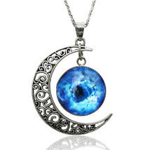 Silver Plated Moon Galactic Universe Glass Cabochon Pendant Necklace - $9.48