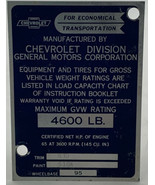 Chevrolet GVW Plate OEM 4600 Gross Vehicle Weight Chevy Van Corvair 20- - $23.70