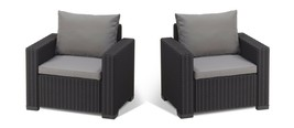 2 Chairs Armchair Seat Rattan Indoor Outdoor Garden Set Graphite Grey w/... - $317.62