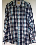 Tommy Bahama Shirt XL Blue Plaid Flip Cuffs Button Down Extra Large - $31.67