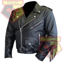 CUSTOM 4589 BLACK MOTORBIKE MOTORCYCLE BIKERS COWHIDE LEATHER ARMOURED J... - $194.99